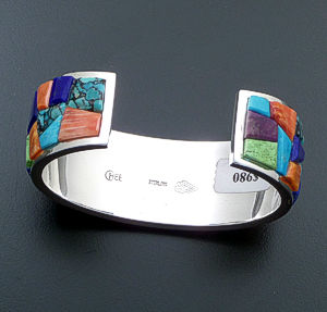 Supersmith Inc. - David Rosales Designs - Indian Summer Cobble Inlay & Sterling Silver Wide Cuff Bracelet #39929 Style Br124C $980.00