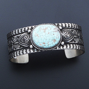 Sunshine Reeves (Navajo) - Oval Dry Creek Turquoise & Stamped Sterling Silver Cuff Bracelet #40211 $525.00