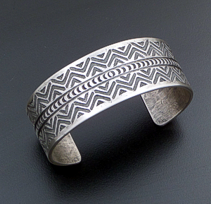 L.T. Chee (Navajo) - Intricately Stamped Brushed Hand Hammered Ingot Silver Cuff Bracelet #40432 $480.00