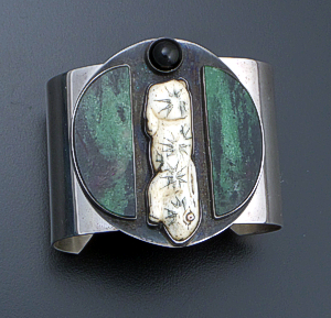 Vintage Serpentine, Onyx, & Carved Bone Sterling Silver Rabbit Cuff Bracelet #40508 $700.00