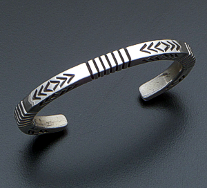 Ned Nez (Navajo) - Vintage Stamped Sterling Silver Square Wire Cuff Bracelet #40924 $275.00