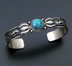 Tsosie Orville White (Navajo) - Kingman Turquoise & Sterling Silver Stamped Repoussé Cuff Bracelet #41426 $240.00