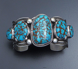 Albert Jake (Navajo) - Five Stone Villa Grove Turquoise & Sterling Silver Scalloped Edge Cuff Bracelet #41432 $1,485.00