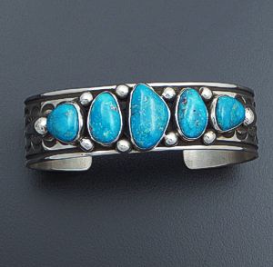 Albert Jake (Navajo) - Five Stone Turquoise & Stamped Sterling Silver Cuff Bracelet #41435 $570.00
