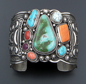 Darryl Becenti (Navajo) - Large Turquoise & Multistone Stamped Sterling Silver Cuff Picasso Bracelet #41600 $1,485.00
