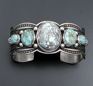 Albert Jake (Navajo) - Five Stone Dry Creek Turquoise & Stamped Sterling Silver Scalloped Edge Cuff Bracelet #41743 $825.00