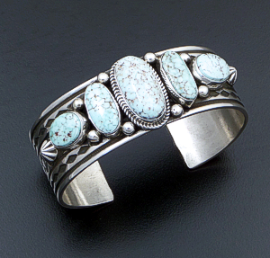 Albert Jake (Navajo) - Five Stone Dry Creek Turquoise & Sterling Silver Stamped Cuff Bracelet #41751 $750.00