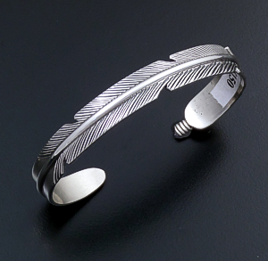 Joe Mace (Navajo) - Intricate Sterling Silver Feather Cuff Bracelet #41964 $150.00