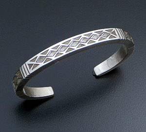 Calvin Martinez (Navajo) - Stamped Sterling Silver Heavy Square Cuff Bracelet #42306 $590.00
