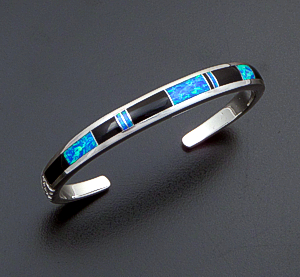 Supersmith Inc. - David Rosales Designs (Navajo) - Black Beauty Inlay & Sterling Silver Narrow Stamped Cuff Bracelet #42357 Style BR230 $330.00
