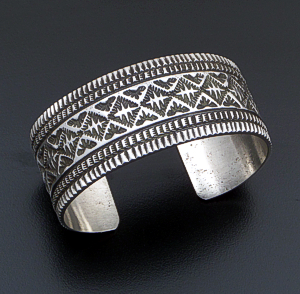 Freddie Maloney (Navajo) - Wide Five Row Stamped Sterling Silver Cuff Bracelet #42543 $585.00
