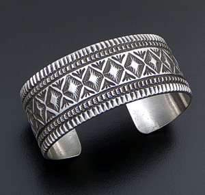 Freddie Maloney (Navajo) - Wide Five Row Stamped Sterling Silver Cuff Bracelet #42544 $585.00