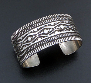 Freddie Maloney (Navajo) - Wide Five Row Stamped Sterling Silver Cuff Bracelet #42545 $585.00