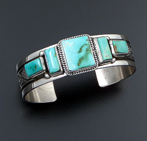 Guy Hoskie (Navajo) - Five Stone Royston Turquoise & Sterling Silver Stamped Cuff Bracelet #42567 $630.00