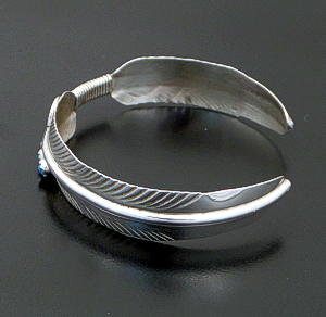 Vivian Jones (Navajo) - Turquoise Accented Double Sterling Silver Feather Cuff Bracelet #42678 $75.00