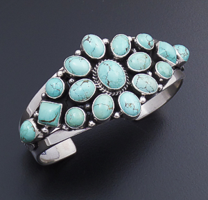 Derrick Gordon (Navajo) - No. 8 Turquoise & Sterling Silver Tapered Cluster Cuff Bracelet #42750 $675.00