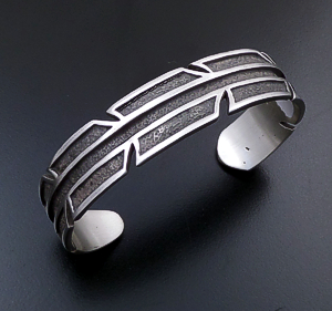 Supersmith Inc. - David Rosales Designs (Navajo) - Oxidized Satin Finished Sterling Silver Modern Feather Cuff Bracelet #42771 BR3016 $375.00