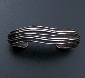 Zina - Wide Oxidized Sterling Silver Waves Cuff Bracelet #42836 $450.00