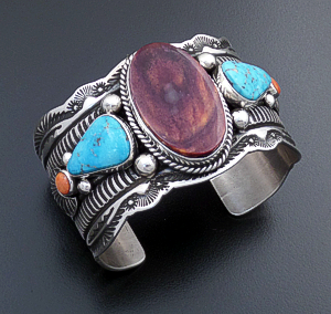 Guy Hoskie (Navajo) - Purple Shell, Turquoise, & Orange Stamped Shell Sterling Silver Scalloped Edge Cuff Bracelet #43029 $960.00