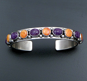 Happy Piasso (Navajo) - Charoite & Orange Shell 15 Stone Sterling Silver Cuff Bracelet #43034 $275.00