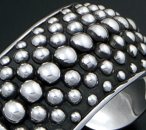 Mexico - 7 Row Beaded Oxidized Sterling Silver Domed Cuff Bracelet #43073 $275.00