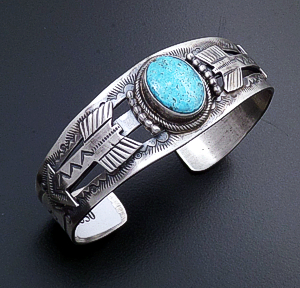 Navajo - Turquoise Accented Oxidized Sterling Silver Double Arrow Cuff Bracelet #43095 $350.00