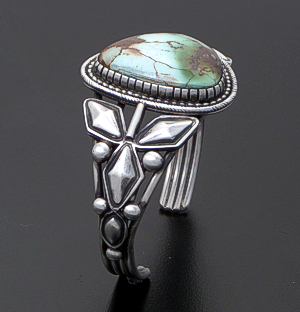Ray Bennett (Navajo) - Royston Turquoise & Satin Finished Sterling Silver Cuff Bracelet #43096 $660.00