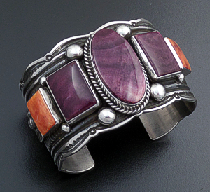 Guy Hoskie (Navajo) - Purple & Orange Shell Stamped Sterling Silver Scalloped Edge Cuff Bracelet #43159 $870.00