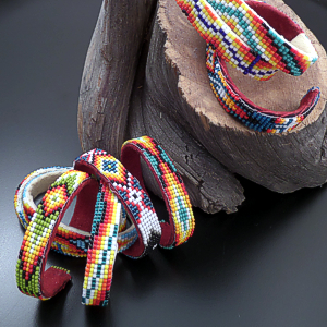 Lucille Ramone (Navajo) - Blanket Pattern Leather & Hand Sewn Seed Bead Cuff Bracelet #43349 $25.00