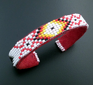 Lucille Ramone (Navajo) - Blanket Pattern Leather & Hand Sewn Seed Bead Cuff Bracelet #43349E $25.00