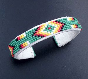 Lucille Ramone (Navajo) - Blanket Pattern Leather & Hand Sewn Seed Bead Cuff Bracelet #43349F $25.00