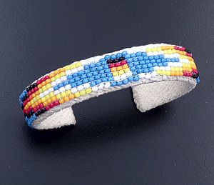 Lucille Ramone (Navajo) - Blanket Pattern Leather & Hand Sewn Seed Bead Cuff Bracelet #43349H $25.00