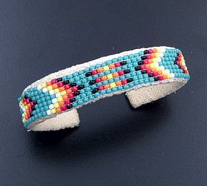 Lucille Ramone (Navajo) - Blanket Pattern Leather & Hand Sewn Seed Bead Cuff Bracelet #43349J $25.00