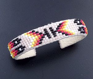 Lucille Ramone (Navajo) - Blanket Pattern Leather & Hand Sewn Seed Bead Cuff Bracelet #43349G $25.00