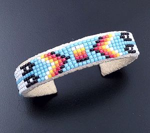 Lucille Ramone (Navajo) - Blanket Pattern Leather & Hand Sewn Seed Bead Cuff Bracelet #43349I $25.00