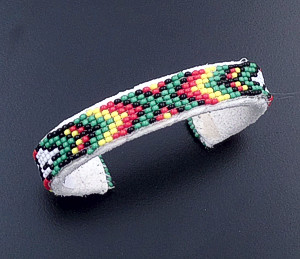 Lucille Ramone (Navajo) - Blanket Pattern Leather & Hand Sewn Seed Bead Cuff Bracelet #43349K $25.00