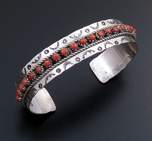 Justin & Pearl Ukestine (Zuni) - Red Coral Petit Point & Sterling Silver Stamped Cuff Bracelet #43444 $125.00