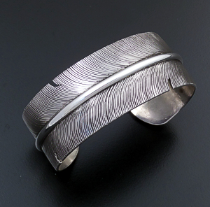 Joe Piaso, Jr. (Navajo) - Wide Intricate Sterling Silver Feather Cuff Bracelet #43517 $315.00