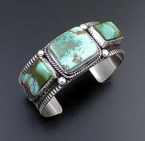 Guy Hoskie (Navajo) - Three Stone Royston Turquoise & Sterling Silver Stamped Cuff Bracelet #43649 $675.00