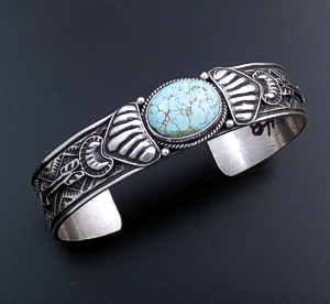 Tsosie Orville White (Navajo) - #8 Turquoise & Sterling Silver Stamped Cuff Bracelet #43711 $425.00