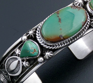 Happy Piasso (Navajo) - Narrow Three Stone Royston Turquoise & Sterling Silver Stamped Cuff Bracelet #43714 $440.00