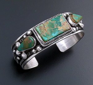 Happy Piasso (Navajo) - Three Stone Royston Turquoise & Sterling Silver Stamped Cuff Bracelet #43718 $570.00