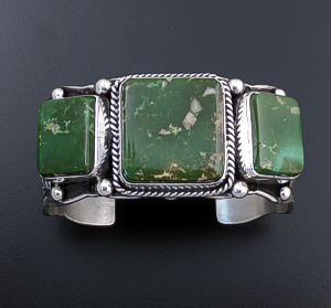 Guy Hoskie (Navajo) - Three Stone Pilot Mountain Turquoise & Sterling Silver Stamped Cuff Bracelet #43720 $900.00
