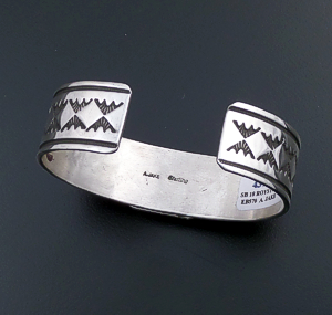 Albert Jake (Navajo) - Royston Turquoise & Sterling Silver Stamped Cuff Bracelet #43723 $435.00