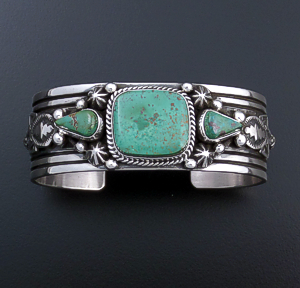 Happy Piasso (Navajo) - Three Stone Royston Turquoise & Sterling Silver Stamped Cuff Bracelet #43738 $525.00