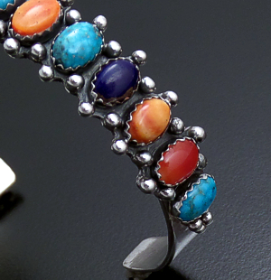 Navajo - Multistone & Sterling Silver Bead Accented Cuff Bracelet #43891 $375.00