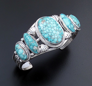 Roie Jaque (Navajo) - Five Stone Little Aqua Turquoise & Sterling Silver Ornate Cuff Bracelet #43893 $1,020.00