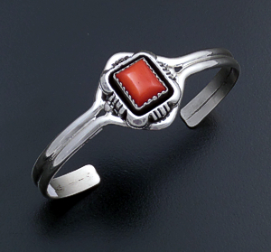 Roie Jaque (Navajo) - Rectangular Apple Coral & Sterling Silver Cut & File Cuff Bracelet #43895 $225.00