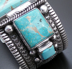 Guy Hoskie (Navajo) - Five Stone Royston Turquoise & Sterling Silver Stamped Cuff Bracelet #44169 $1,260.00