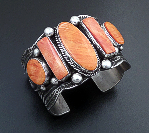 Guy Hoskie (Navajo) - Five Stone Orange & Red Shell Stamped Sterling Silver Scalloped Edge Cuff Bracelet #44183 $795.00